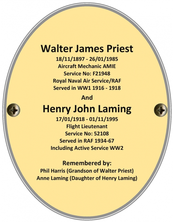 Aircraft Mechanic AMIE. Walter James Priest and Flt Lt. Henry John Laming