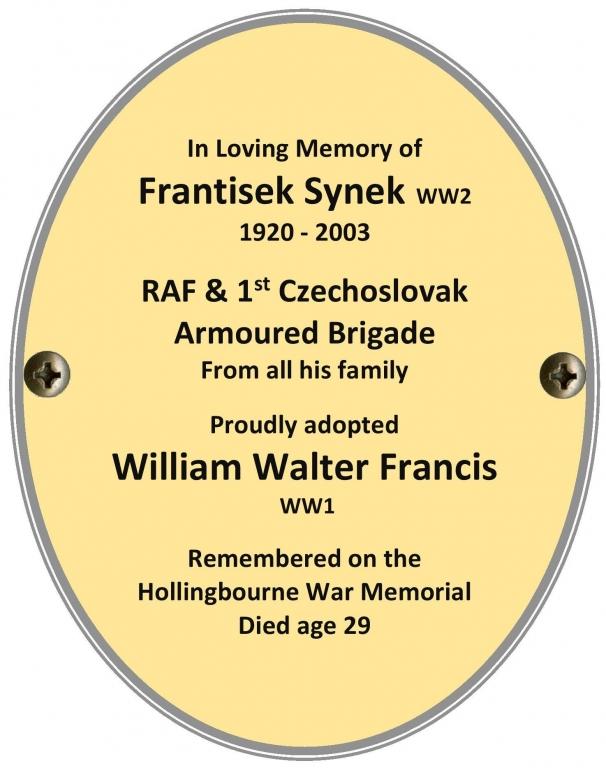 Frantisek Synek (WW2) Proudly adopting William Walter Francis (WW1)