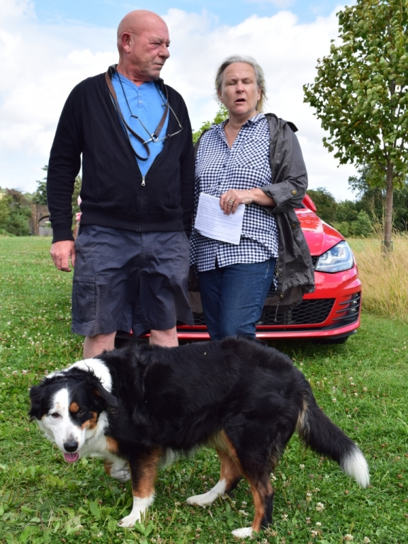Ken and Sue Brown with Lilly the dog, doing the Meadows Explorer Trail (20th August 2016)