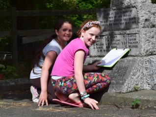 Naomi and Samara at the War Memorial, nearing the end of the Explorer Trail.