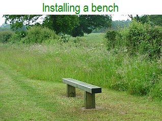 Installing a bench in the Meadows in 2012
