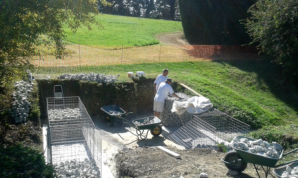 Gabion filling with stone