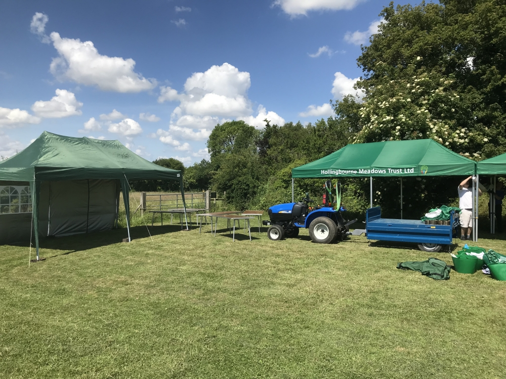 Setting up the three marquees